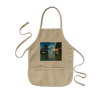 View over the ocean to the rocks with waterfall kids' apron