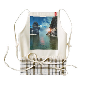 View over the ocean to the rocks with waterfall zazzle HEART apron