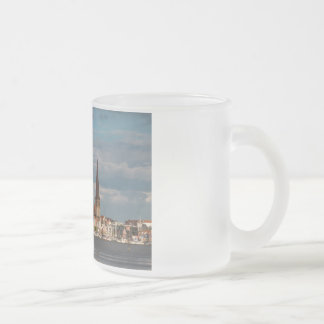 View over the river Warnow to Rostock Frosted Glass Coffee Mug
