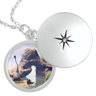 View over the sea with boat sterling silver necklace