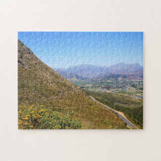 View over the town of Franschhoek in South Africa Jigsaw Puzzles