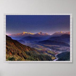 View POKHARA  Nepal   :CRYSTAL Border Print