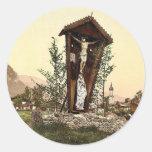 View showing crucifix, Garmisch, Upper Bavaria, Ge Round Sticker