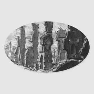 View the remains of `Mausoleums and tombs scattere Oval Sticker