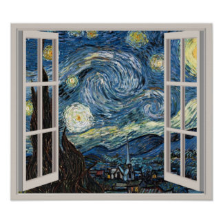 View Through A Window To Starry Night Van Gogh Poster