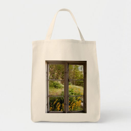 View through old window tote bag