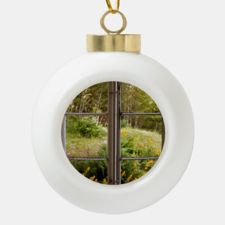 View through old window ceramic ball christmas ornament
