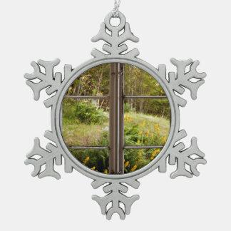 View through old window snowflake pewter christmas ornament