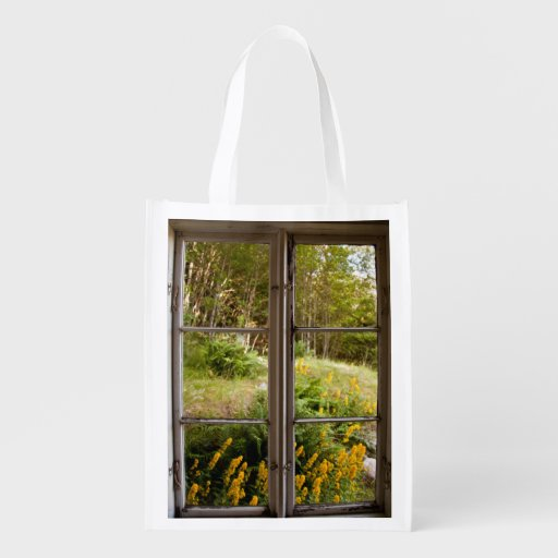 View through old window reusable grocery bag