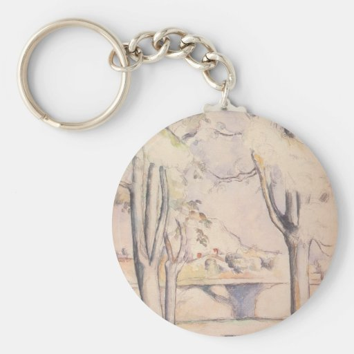 View Thru the Trees by Cezanne, Impressionism Art Keychains