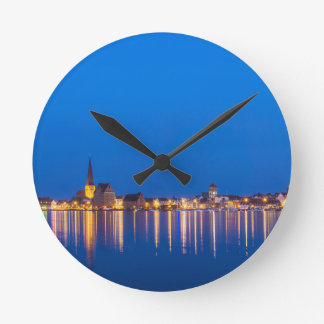 View to the city Rostock in Germany at night Round Clock