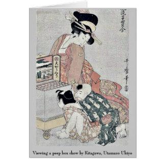 Viewing a peep box show by Kitagawa, Utamaro Ukiyo Greeting Card