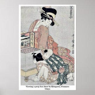 Viewing a peep box show by Kitagawa, Utamaro Ukiyo Poster