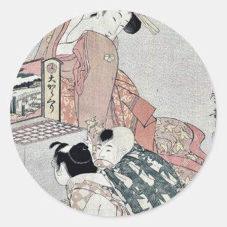 Viewing a peep box show by Kitagawa, Utamaro Ukiyo Classic Round Sticker