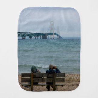 Viewing Mackinac Bridge Baby Burp Cloth