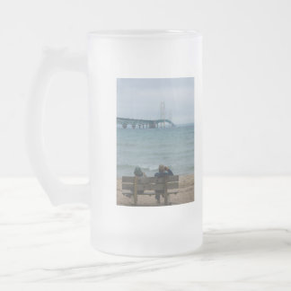 Viewing Mackinac Bridge Frosted Glass Beer Mug
