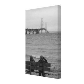 Viewing Mackinac Bridge Grayscale Canvas Print
