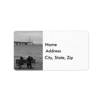 Viewing Mackinac Bridge Grayscale Label