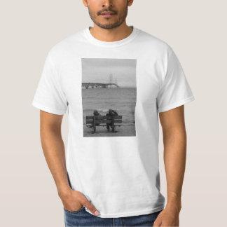 Viewing Mackinac Bridge Grayscale T-Shirt