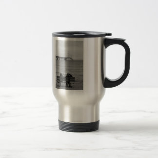 Viewing Mackinac Bridge Grayscale Travel Mug