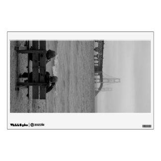 Viewing Mackinac Bridge Grayscale Wall Sticker