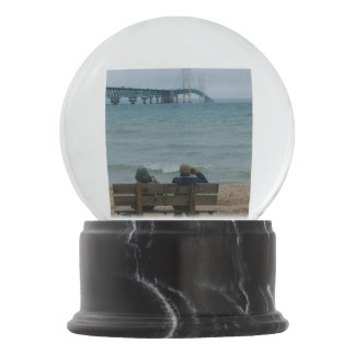 Viewing Mackinac Bridge Snow Globe