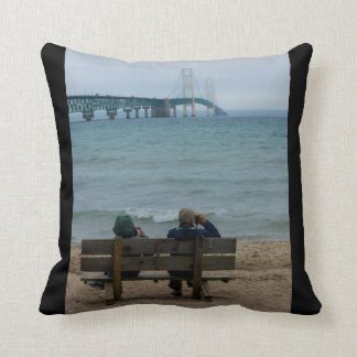 Viewing Mackinac Bridge Throw Pillow