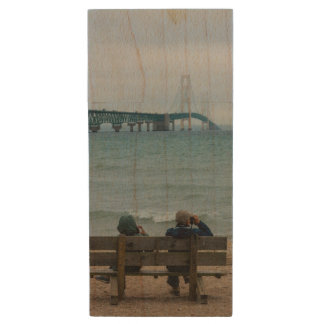 Viewing Mackinac Bridge Wood USB Flash Drive