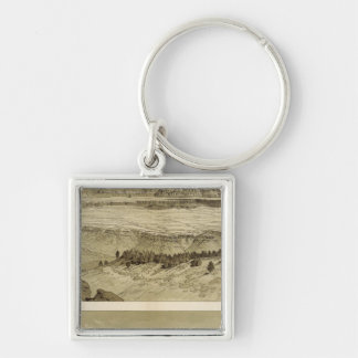 Views looking east and south from Mt Trumbull Silver-Colored Square Keychain
