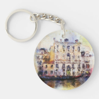 Views od Venice made in artistic watercolor Double-Sided Round Acrylic Keychain