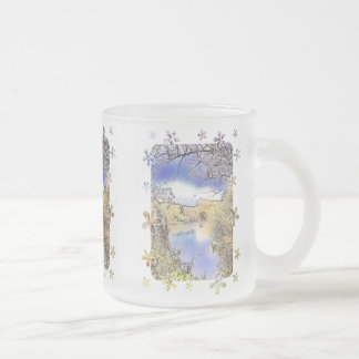VIEWS OF ENGLAND FROSTED GLASS COFFEE MUG