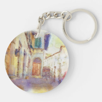 Views of Florence made in artistic watercolor Double-Sided Round Acrylic Keychain
