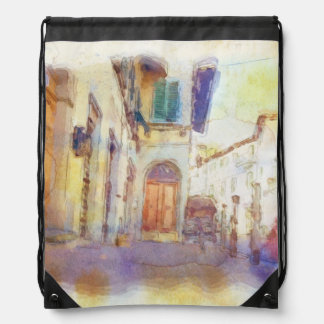 Views of Florence made in artistic watercolor Drawstring Backpacks