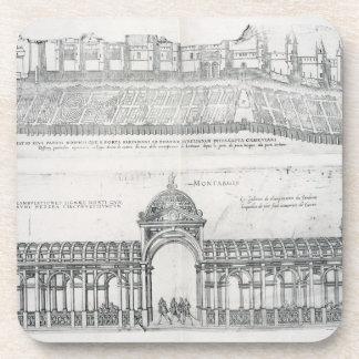 Views of Montargis, from 'Les Plus Belles Batiment Drink Coasters