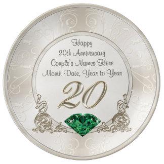 Vigésima placa personalizada magnífica de los platos de cerámica