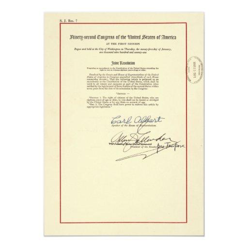 Vigésima sexta constitución de los E.E.U.U. de la Invitación 12,7 X 17,8 Cm