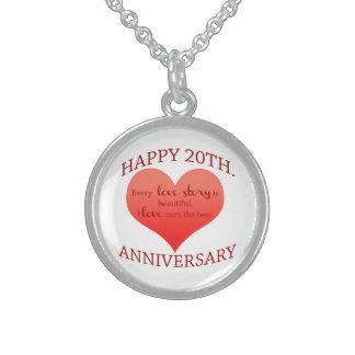 vigésimo. Aniversario Collar De Plata Esterlina