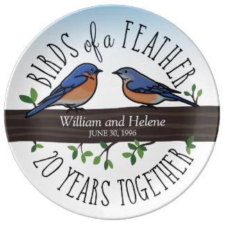 vigésimo Aniversario de boda, Bluebirds de una Platos De Cerámica
