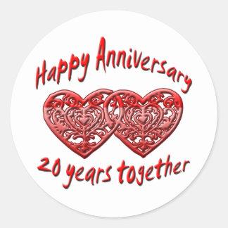 vigésimo. Aniversario Pegatina Redonda