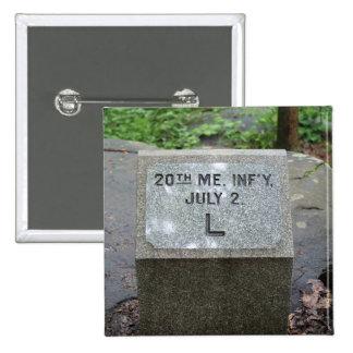 vigésimo Botón de Maine Gettysburg Pin Cuadrado