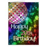 vigésimo cumpleaños con la bola de discoteca y el  tarjeta de felicitación
