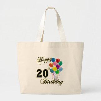 Vigésimo cumpleaños feliz con la bolsa de asas de
