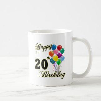 Vigésimo cumpleaños feliz con los globos taza