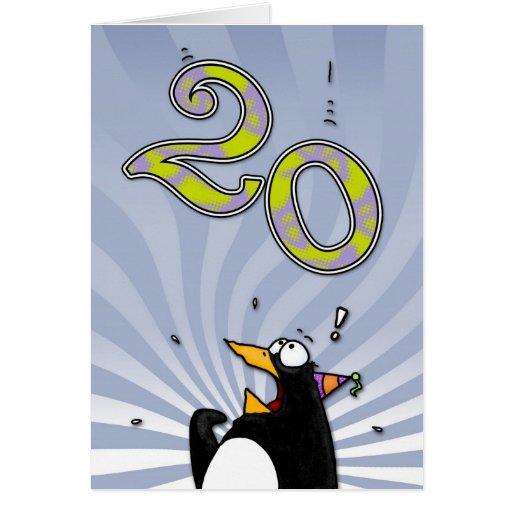 vigésimo cumpleaños - tarjeta de la sorpresa del p
