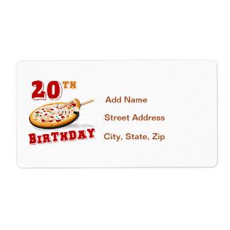 vigésimo Fiesta de la pizza del cumpleaños Etiqueta De Envío
