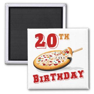 vigésimo Fiesta de la pizza del cumpleaños Imán Cuadrado