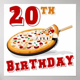 vigésimo Fiesta de la pizza del cumpleaños Póster