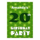 vigésimo Modelo verde moderno v2 del cumpleaños Invitación 12,7 X 17,8 Cm