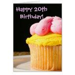 Vigésimo mollete feliz del cumpleaños tarjeton