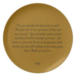 vigésimo Placa del aniversario Plato De Cena